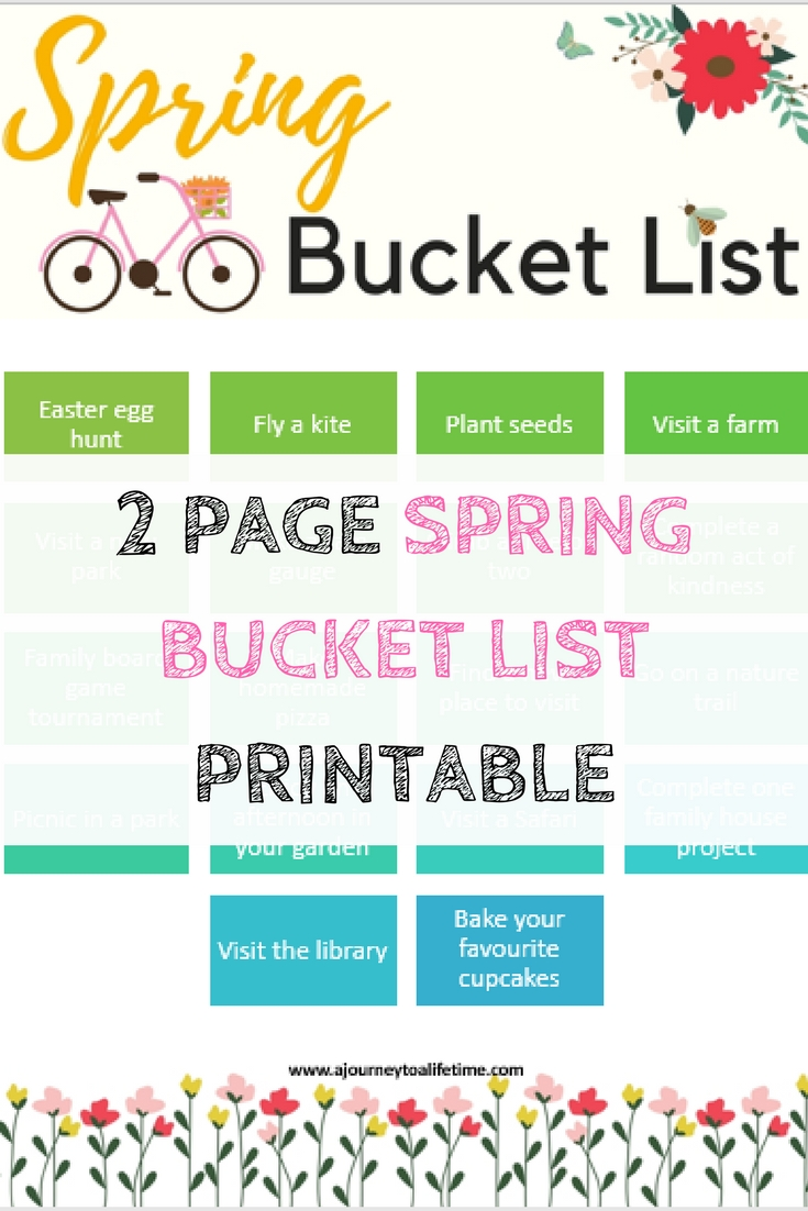 2 Page Spring Bucket List Printable pinterest